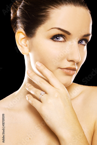 Beautiful woman wearing diamond ring