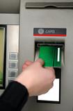 Inserting plastic card visa into ATM poster