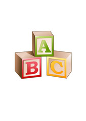 Vector illustration of blocks with letters