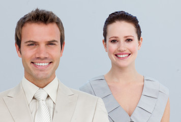 Portrait of a businesswoman with her male colleague