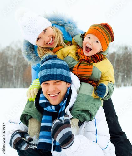 Leinwandbild Motiv happy family outdoor