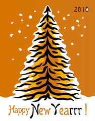 Greeting card with tiger skin in the shape of pine tree