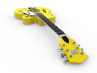 lime-yellow electric guitar