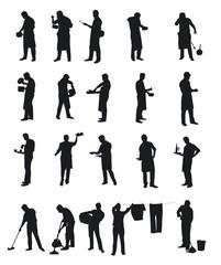 Silhouettes d'homme faisant les tâches ménagères - vecteur
