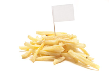 french fries with blank flag, separated