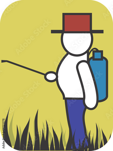 Illustration of a symbol of a man spraying pesticide