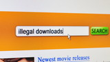 Illegal downloads - fictional search engine poster