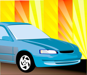 Illustration of a blue car isolated