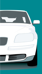 Illustration of a white car isolated
