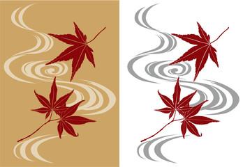 紅葉の和柄模様