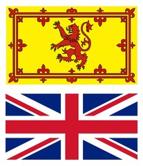 UK flag and scottish lion