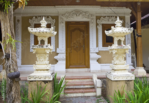 Bali, entrance doors in the house also are decorated