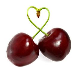 Cherry sticks shows a heart shape