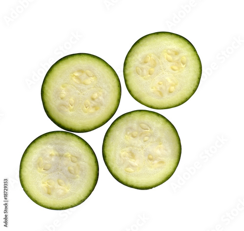 fresh slices of organic zucchini courgette Cucurbita pepo