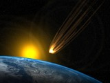 Asteroid going to impact into Earth poster
