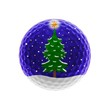 Golfball with Christmas scene - isolated on white
