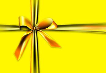 Goldene Schleife auf gelbem Hintergrund