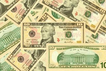 10 dollar banknotes.