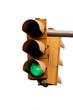 Verkehrsampel mit grünem Licht. Freie Fahrt.