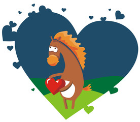 valentine card with nice horse holding red heart