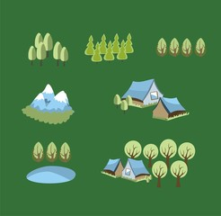 vector set of icons with trees and village signs