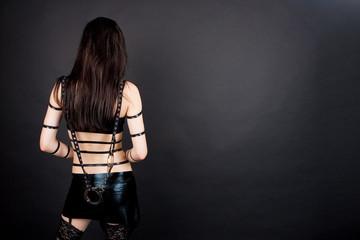 sensual seductive gothic emo isolated on gray