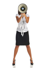 Young businesswoman with megaphone