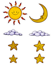 Sonne, Mond, Sterne, Wolken,  Sun, Moon, Stars
