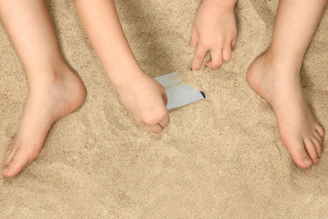 Little Hands and Feet in Sand