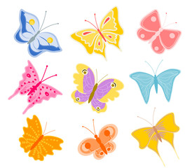 set of cartoon butterflies