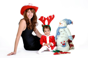 Mother and daughter wearing Christmas costume
