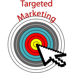 Targeted Marketing pixel cursor clicks bulls eye