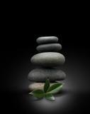 Zen garden, attitude zen, galets sur fond noir, feuilles vertes