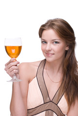 Closeup portrait of beautiful girl with glass of alcohol