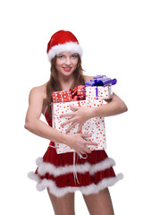 Closeup portrait of girl weared in santa clause dress and some g