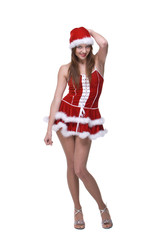 Beautiful dancing girl weared in santa clause dress