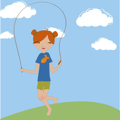 the little girl jumping with the skipping rope