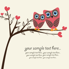 Owls couple. Vector.