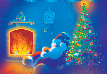 Santa Claus sleeps by the fire