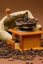 Szlifierka i ziarna kawy