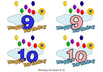 Birthday numbers for greetings card - Number 9-10