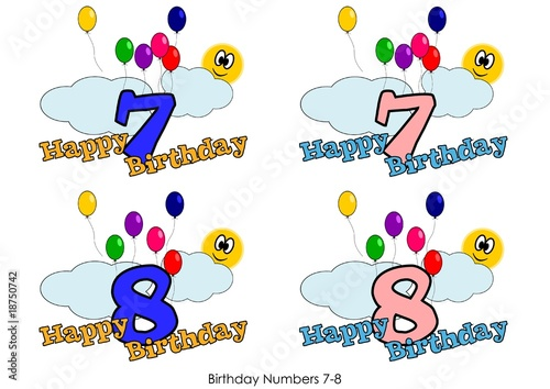 Birthday numbers for greetings card - Number 7-8