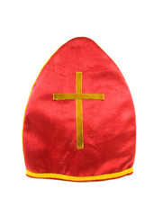 mitre of Sinterklaas over white background