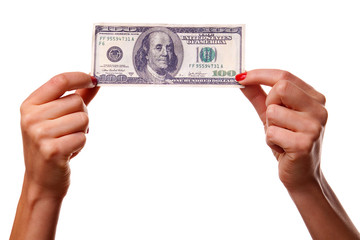 Woman's hands and dollars