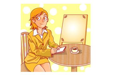 カフェ(外)でメモする女性