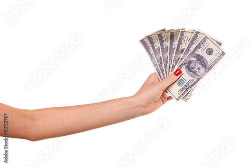 Woman's hand and dollars