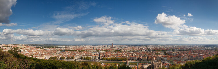 Lyon, France - Panoramic View of the City from Fourviere Hill.
