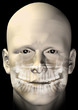Male figure with dental scan x-ray. 3d illustration.