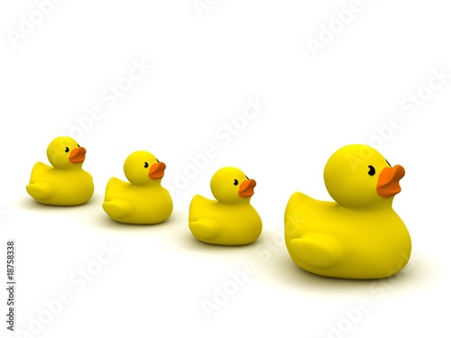 digital render of 4 rubber ducks isolated on white