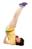 Sporty girl in yellow sportswear. poster